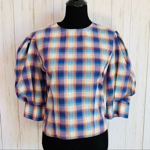 Zara The Madras Blouse plaid puff sleeve top S NWT